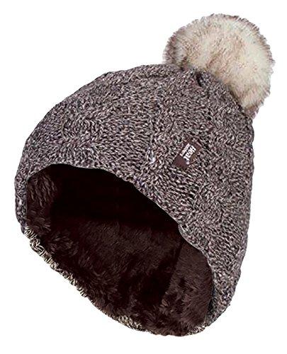 HEAT HOLDERS - Damen bunt Muster Winter Outdoor Fleece warm wintermütze/Beanie mütze mit Pompon bommel in 7 Farben (One Size, Fawn)