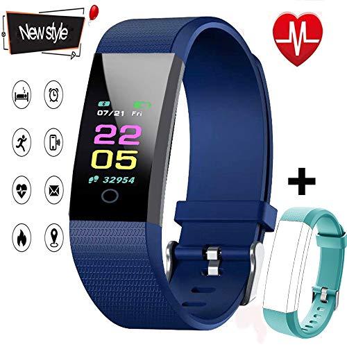 NUHIWIY Fitness Tracker,Activity Tracker,Heart Rate Monitor,Waterproof Smart Watch,Calorie Counter,Sleep Monitor,Pedometer,Fitness Tracker for Women,Men,Kids,Multi-Language(Blue and Green)