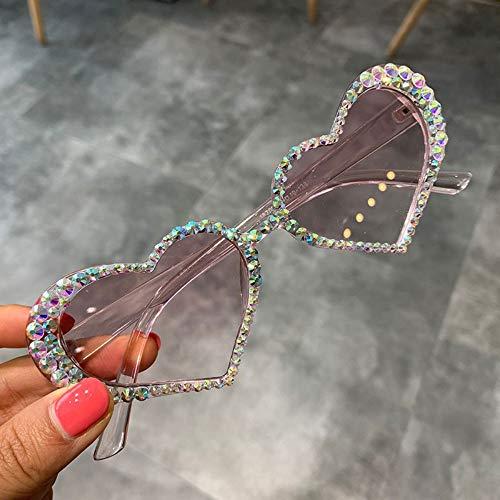 KONGYUER Zonnebril, Bril, Roze Vintage Hart Zonnebril Vrouwen Mode Luxe Strass Decoratie Kat Oog Zonnebrillen Mannen Bril Heldere Bril Uv400