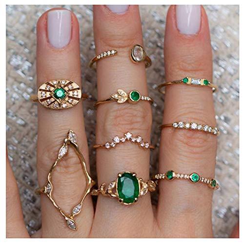 9-teiliges Silberring-Ringset für Damen Smaragd-Vintage-Goldring-Set-Geschenk für ihre Frau und Ihr Mädchen Teen
