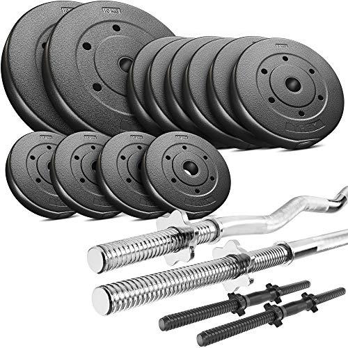 Trex Hantelset Lang-, Curl- und Kurzhantelstange mit Gewichten 50kg bis 160kg zur Wahl (60kg)