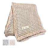 Baby Decke natur-beige stone-washed I 100% Bio-Baumwolle 75 x 100 cm I Ideal als Kinderwagen Decke I luftige Häkeloptik I Sonnen- und Windschutz für zuhause und unterwegs