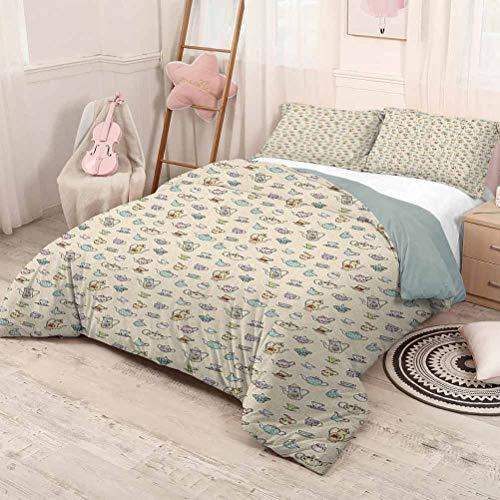 Fanoewi Juego de cama con edredón estampado – Juego de ropa de cama de 3 piezas con 2 fundas de…