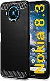 tomaxx Hülle für Nokia 8.3 5G Silikon Hülle Schutzhülle Silikon Tasche Carbon Schwarz kompatibel mit Nokia 8.3 5G