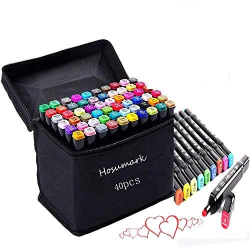 hosum マーカーペン イラストマーカー 40色 セット 水彩ペン 2種類のペン先 太字 細字 油性コミック用 塗り絵、描画、落書き、学習用の カラーペンセット