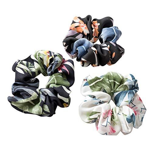 Beaupretty 3 piezas de gomas para el pelo elásticas, cintas para el pelo, flores, coletero, accesorios para mujeres y niñas (blanco + negro + azul marino)