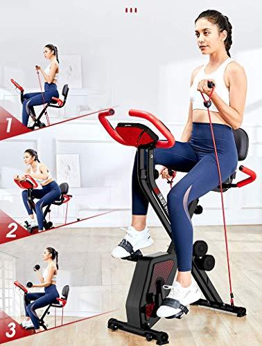 YLJYJ Bicicleta estática Plegable con Respaldo X-Bike con Sistema de Banda de Resistencia y Mancuernas Pantalla LED para Bicicletas de Ciclismo de Interior, Home Trainer Mult (Bicicletas estáticas)