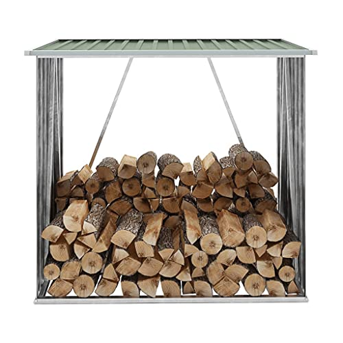 vidaXL Abri de Stockage de Bois Abri de Chauffage de Bois Abri de Jardin Rangement Extérieur Durable Acier Galvanisé 163x83x154 cm Vert