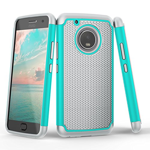 Moto G5 Plus Case, Moto G 5th Gen Plus Case, TILL(TM) [Turquoise] [Shock Absorption] Dual Layer TPU + Plastic Scratch Resistant Hybrid Armor Defender Protective Case Cover for Motorola Moto G5 Plus