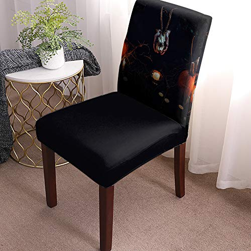 Chair Covers for Dining Room Set of 8 Halloween Style Gloomy Night Horror Skull and Candle Removable Washable Chair Seat Slipcovers for Kitchen, Restaurant, Party, Ceremony