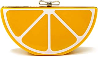 D DOLITY Hot Sale Orange Shaped Acrylic Clutch Bag Women Purse Fruit Messenger Bag