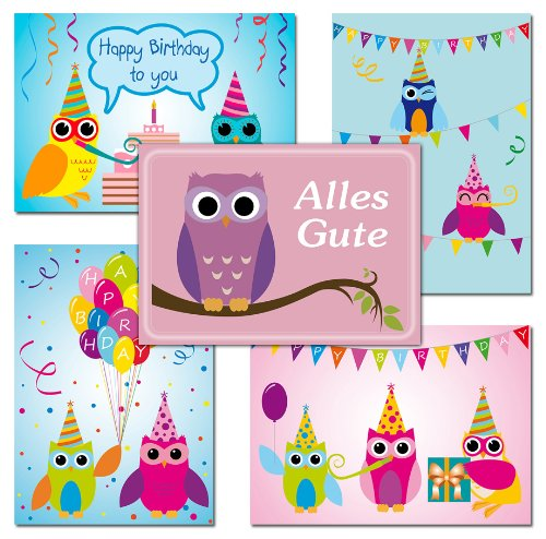 10 Postkarten Eulen Geburtstagskarten