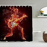 DAHALLAR Rideau de Douche,Dead Skeleton Music Halloween Death Zombie Jouant de la Guitare électrique dans Un Style d'humour drôle de feu brûlant,décor de Salle de Bains,Crochets Inclus,180 * 180