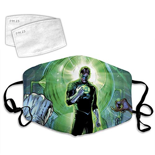 Comfortable Adult Superhero Green Lan-tern Face Cover Ma-sk Bandana Reusable Face Covering With Filter For Men And Women