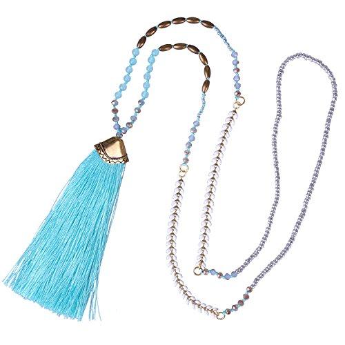 KELITCH Quaste Lange Türkis Kristall Mischen Wulstig Halsketten Bohemien Stränge Halskette Neu Quaste Achat Halsketten - Blau