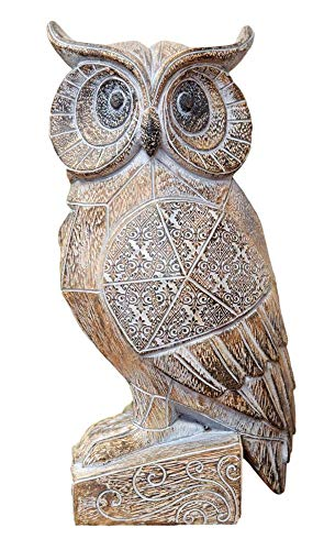 Hestia Home Wise Owl Gift Ornament Statue, Carved Wooden Effect Figurine 25cm HE1469