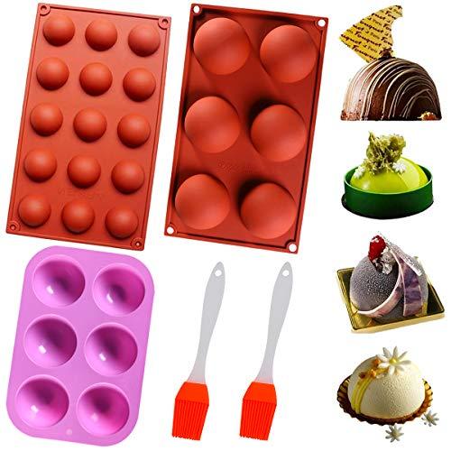 Stampi emisferici in Silicone, Silicone Semisfera Vassoio per Cioccolato, Stampo in silicone piatto antiscivolo, 3 Pezzi Stampi da Forno per Fare Cioccolato, Torta, Gelatina, Mousse a Cupola