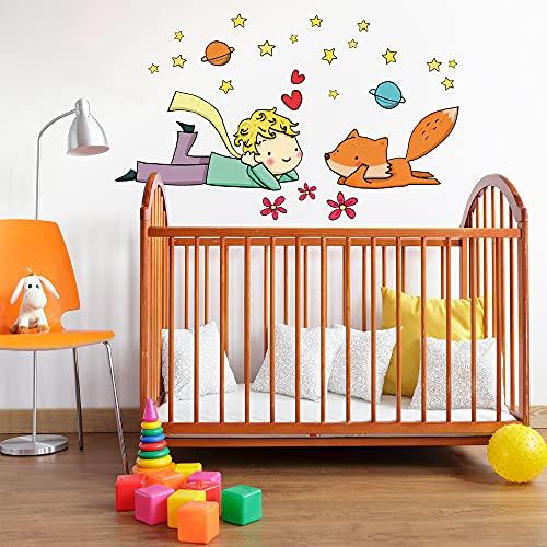 R00158 Pegatina Vinilo Pared Suave Efecto Tejido Decoración Niño Bebé Habitación Infantil Guardería Papel Pintado Autoadhesivo Principito