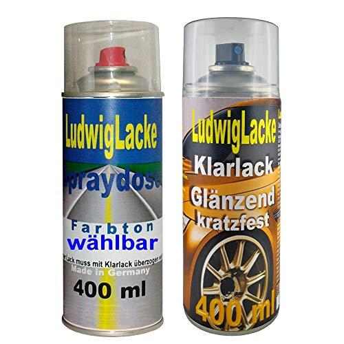 Ihre Wagenfarbe in der Spraydose + Klarlack zum Versiegeln 400 ml Autolack + 400 ml Klarlack