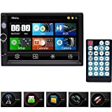 Eincar Double Din Car Stereo,7 Inch Touch Screen Car Radio MP3/MP5/FM Player Supports Bluetooth/USB/TF/AV in with Wireless Remote Control+Colorful Buttons