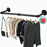 Crehomfy Industrial Pipe Clothes Rack with 3 S-shaped Hooks, 36''L Wall Mounted Garment Rack, Heavy Duty Iron Garment Bar, Clothes Hanging Rod Bar for Laundry Room Closet Storage, Max Load 135Lb Black