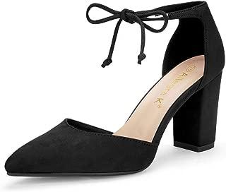 Women's Ankle Tie Point Toe Dress Pumps