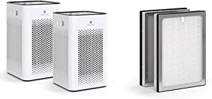 Medify MA-25 Air Purifier with one additional H13 True HEPA replacement Filter | 500 sq ft Coverage | for Smoke, Smokers, Dust, Odors, Pet Dander | Quiet 99.9% Removal to 0.1 Microns | White, 2-Pack