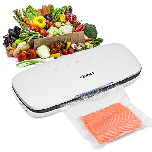 ELEHOT Envasadora al vacío de Alimentos Máquina de Envasado Sellador al Vacío doméstica con 10 Piezas Bolsas de vacío de en Modo húmedo y seco 120W