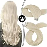 Moresoo Tape in Hair Extensions Blonde Human Hair 20inch Platinum Blonde Real Hair Extensions Straight Thick Hair 20Pieces/50Grams Platinum Blonde Tape in Hair Extensions