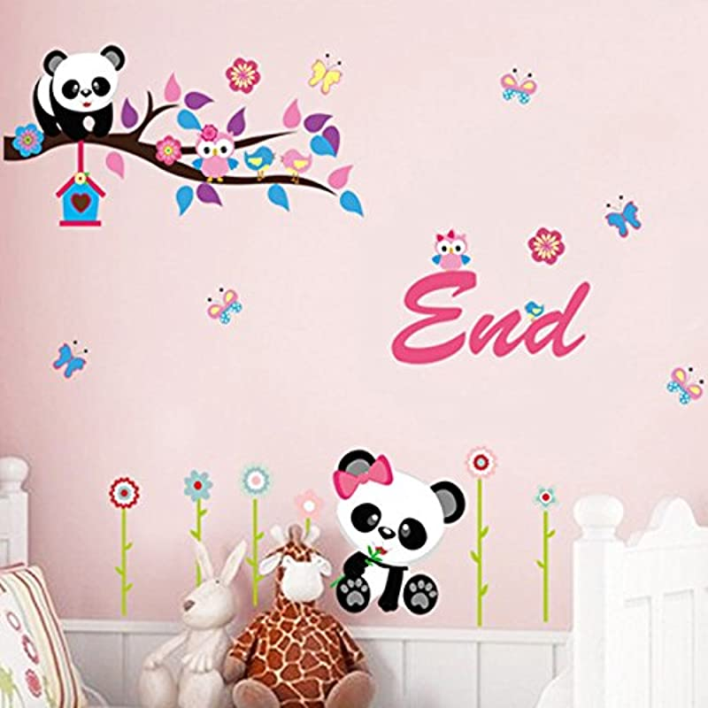 Owls Pandas Flowers Butterflies Wall Decal PVC Home Sticker House Vinyl Paper Decoration WallPaper Living Room Bedroom Kitchen Art Picture DIY Murals Girls Boys Kids Nursery Baby Playroom Decor
