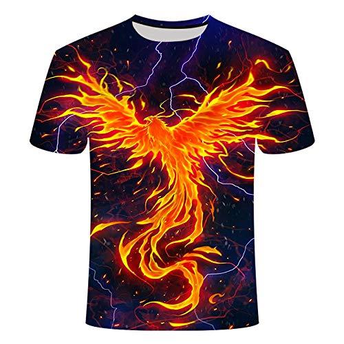 CHWEI Knitted Hat 3D-Druck Flammen-Phönix-Muster Männer Und Frauen Sommer Langarm Kurzarm-T-Shirt Schweiß Schnelltrocknender Outdoor-Freizeit-L