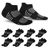 EKSHER 8 Paar Sneaker Socken Damen 35-38 Sportsocken Baumwolle Kurzsocken Unisex Schwarz