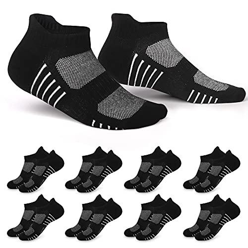 EKSHER Sneaker Socken Herren Damen Sportsocken Schwarz 8 Paar Laufsocken Kurze Atmungsaktive Baumwolle 39-42