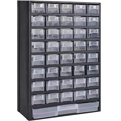 Dongbin Fach-Speicher-Organisator-Einheit, Die DIY Werkzeug Multi Drawer Bits Kabinett Workshop Für Home Office Garage Oder Schuppen 31 X 13,8 X 49Cm,Schwarz