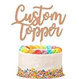 EDSG Personalised Cake Topper Happy Birthday Decorations Double Sided Glitter Card Any Text Customized Wedding Party Multicolour 1st 13th 16th 18th 21st 30th 40th 50th 60th 70th