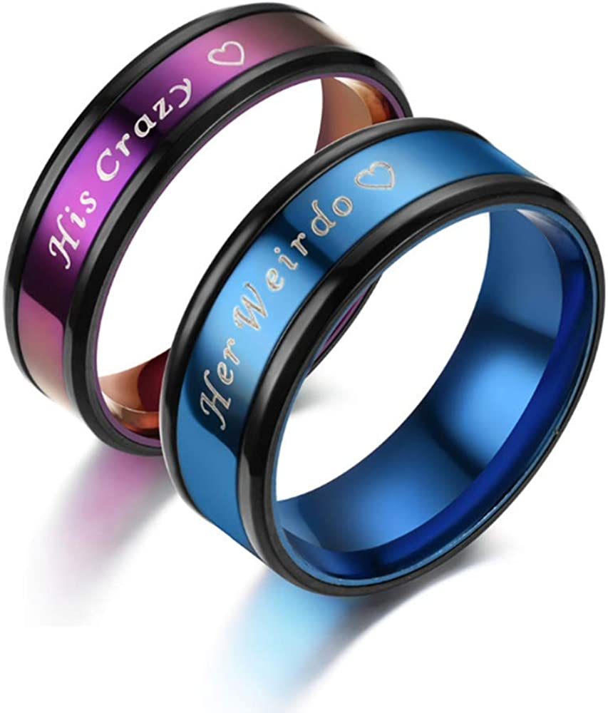 Set of 2 Matching Her Weirdo and His Crazy Heart Couple Rings Set Wedding Bridal Engagement Band Stainless Steel Anniversary Promise Rings