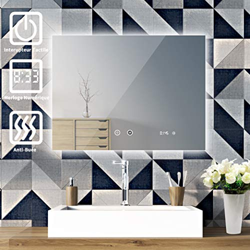 SOGOO® Miroir Intelligent Miroir HD L80 x H60cm 18W Miroir Salle de Bain LED Miroir Lumineux Salle de Bain LED Miroir Salle de Bain avec Éclairage Intégré LED Blanc Froid 6500K (Fonction Anti Buée)