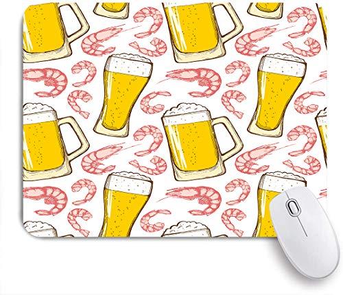 QINCO Gaming Mouse Pad Rutschfeste Gummibasis,Handzeichnung von Gläsern mit Bier und Garnelen,für Computer Laptop Office Desk,240 x 200mm