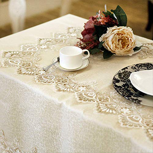 DAKEUR Golden Table Cloth, Round Table Cloth, Multi-cover Cloth Satin Embroidered Empty Tea Table Cloth 150cm round Light golden tablecloth
