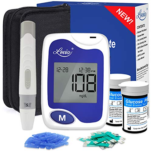 Diabetes Testing Kit - Lovia Blood Sugar Test Kit, 50 Glucometer Strips, 1 Lancing Device, 50 Lancets and Carrying Case, Glucose Meter Kit with Strips and Lancets, No Coding