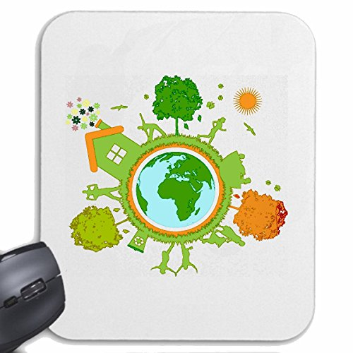 Reifen-Markt Mousepad (Mauspad) RETTET DEN Planet Recycle GLOBUS Erde Planet Umwelt Umweltschutz für ihren Laptop, Notebook oder Internet PC (mit Windows Linux usw.) in Weiß
