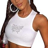 I3CKIZCE Camiseta de tirantes para mujer, de verano, cuello redondo, estampado de mariposa, estilo casual, sexy, chic y vintage blanco L