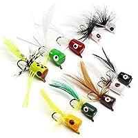 YZD Bass Popper Fly Dry Fly Fishing Flies Kit Panfish Bass Fishing Popper Topwater Bait (Popper Kit 02)