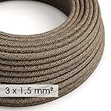 creative cables Textilkabel rund, Querschnitt 3x1,50, braun natürliche Leine, RN04-20 Meter