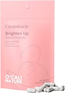 Ceramiracle O'Cali Nature Brighten Up Supplement - Skin Glow, Hydrating - Phytoceramides, Olive Leaf Extract, Hyaluronic A...