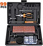 Kohree 99pcs Kit Reparación Neumáticos Pesados Kit Antipinchazos Coche Repara Mechas Pinchazos Kit Moto Juego de reparación de neumáticos para Moto, ATV, Jeep, Camión, Tractor, Autos, Bicicletas