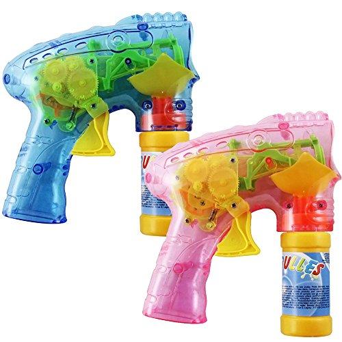 com-four® 2X Pistola a Bolle a LED con Acqua a Bolle, Macchina per Bolle Trasparente per Bambini e Adulti, Pistola a Bolle Come Omaggio (02 Pezzi - Mi
