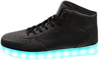 High Top Light Up Flashing Glow in The Dark Women's Men's Galaxy USB Charging Multi Color LED Light Up Flashing Sneakers Black 13W/11M