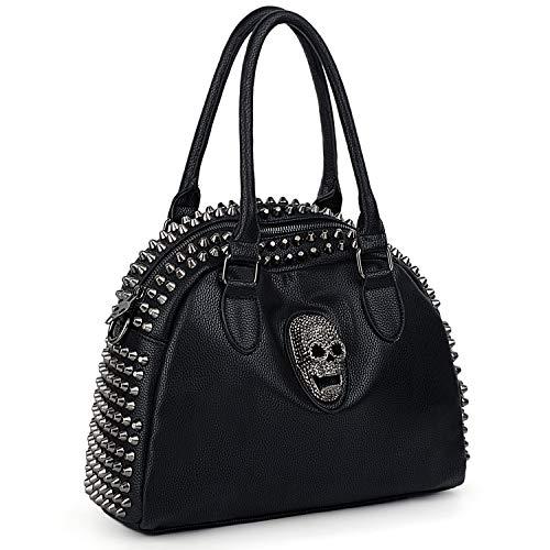 UTO Women Skull Handbag Rivet Studded PU Leather Purse Medium Shoulder Bags 754B