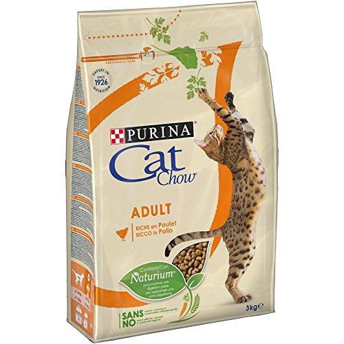 Purina Cat Chow Adult avec NaturiumTM - Riche en Poulet - 3 KG - Croquettes pour Chat Adulte